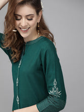 Load image into Gallery viewer, Yufta Women Green & Off-White Embroidered Kurta with Palazzos