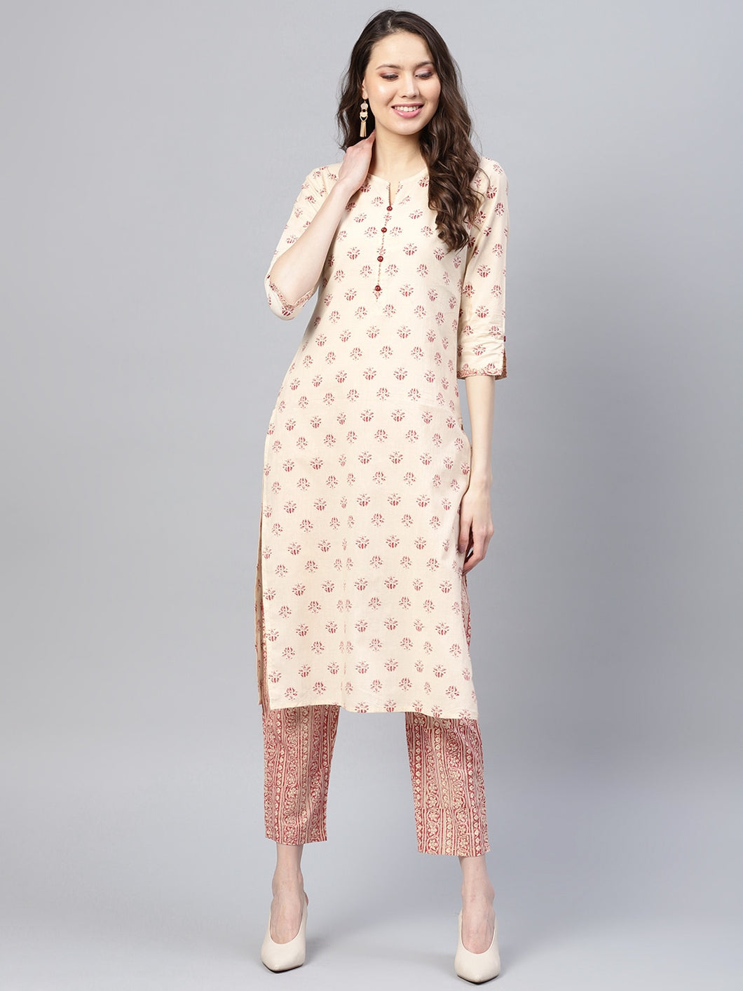 Yufta Women Beige & Maroon Printed Kurta with Trousers-S-Beige