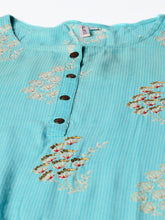 Load image into Gallery viewer, Yufta Women Blue Embroidered A-Line Kurta