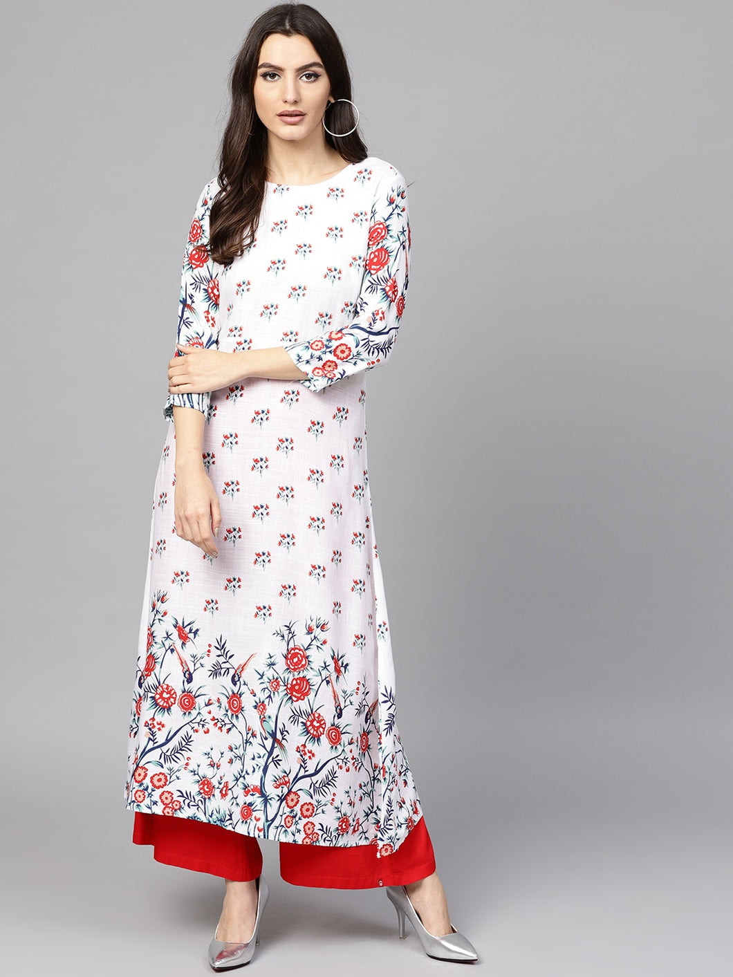 Yufta Women White & Red Printed A-Line Kurta