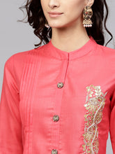 Load image into Gallery viewer, Yufta Women Coral Pink Solid Straight Kurta