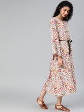Load image into Gallery viewer, Women Off-White & Pink Printed Fit and Flare Dress With Tassel Detailing