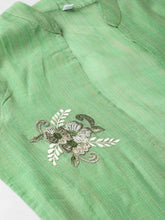 Load image into Gallery viewer, Women Green & Brown Hand Dyed Straight Kurta with Ethnic Jacket