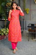 Load image into Gallery viewer, Yufta Women Prink and Orange Handblock Printed Kurta with Trousers
