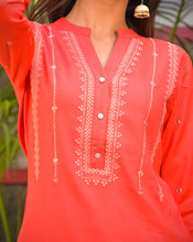 Load image into Gallery viewer, Yufta Women Peach & White Solid Embroidered Kurta with Gold Handblock Printed Palazzo