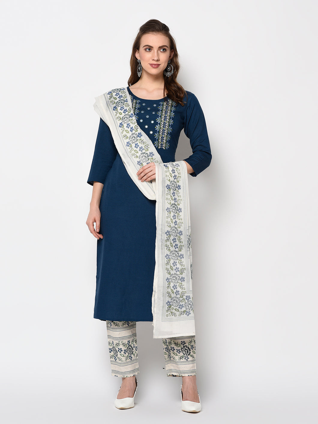 Yufta Navy Blue Embroidered Straight Kurta With Printed Palazzo And Dupatta Set (Set of 3)