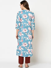 Load image into Gallery viewer, Women Blue Floral Printed Straight Kurta