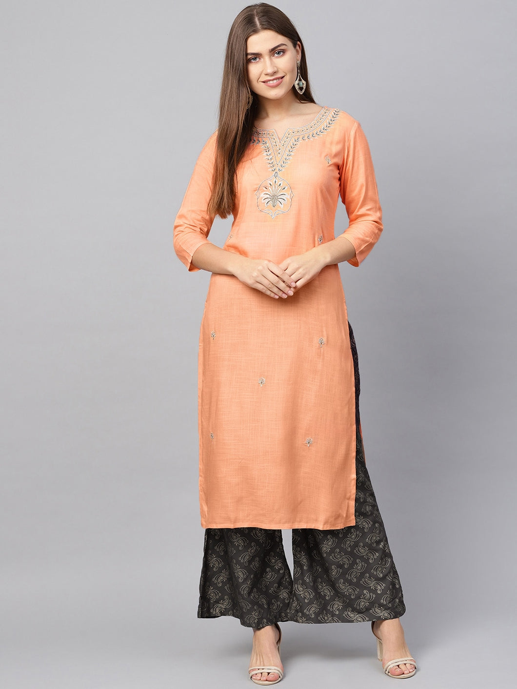 Yufta Women Peach-Coloured & Grey Embroidered Kurta with Palazzos
