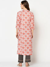 Load image into Gallery viewer, Yufta Women Red & Beige Printed Straight Kurta