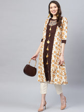 Load image into Gallery viewer, Yufta Women Off-White & Brown Printed A-Line Kurta