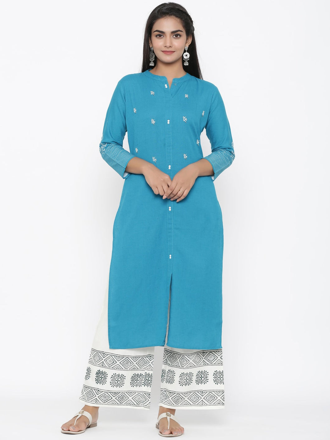 Embroidered Cotton flex kurta with hand block palazzo