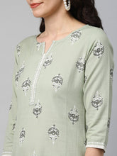 Load image into Gallery viewer, Women Green Printed Kurta with Palazzos