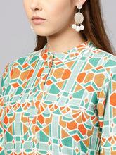 Load image into Gallery viewer, Yufta Women Green & Orange Printed Straight Kurta-S-Green