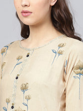 Load image into Gallery viewer, Yufta Women Beige & Blue Printed Kurta with Palazzos-S-Beige