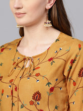 Load image into Gallery viewer, Yufta Women Mustard Yellow & Navy Printed Kurta with Palazzos-S-Mustard