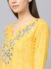 Load image into Gallery viewer, Yufta Women Yellow & Off-White Lehriya Printed Anarkali Kurta