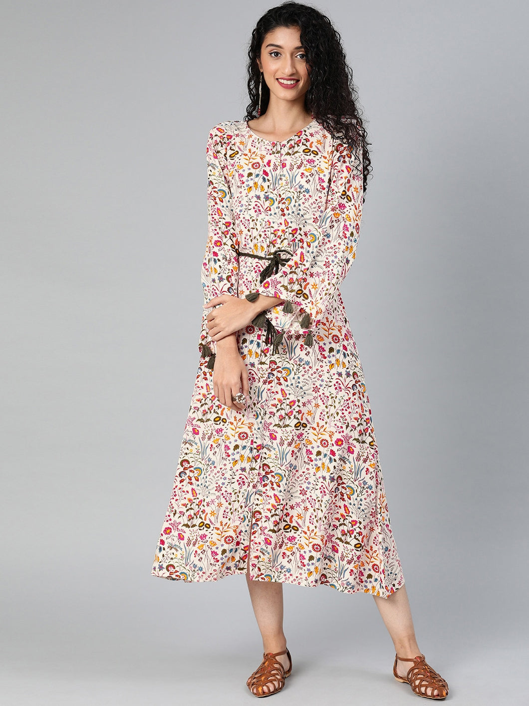 Women Off-White & Pink Printed Fit and Flare Dress With Tassel Detailing
