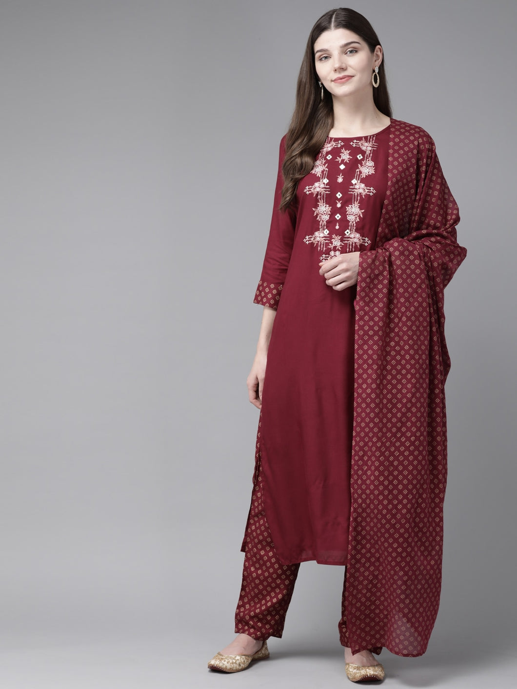 Yufta Maroon Embroidered Kurta With Palazzo & Dupatta