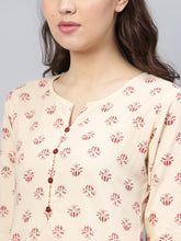 Load image into Gallery viewer, Yufta Women Beige & Maroon Printed Kurta with Trousers-S-Beige