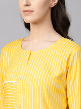Load image into Gallery viewer, Yufta Women Yellow & White Striped Straight Kurta