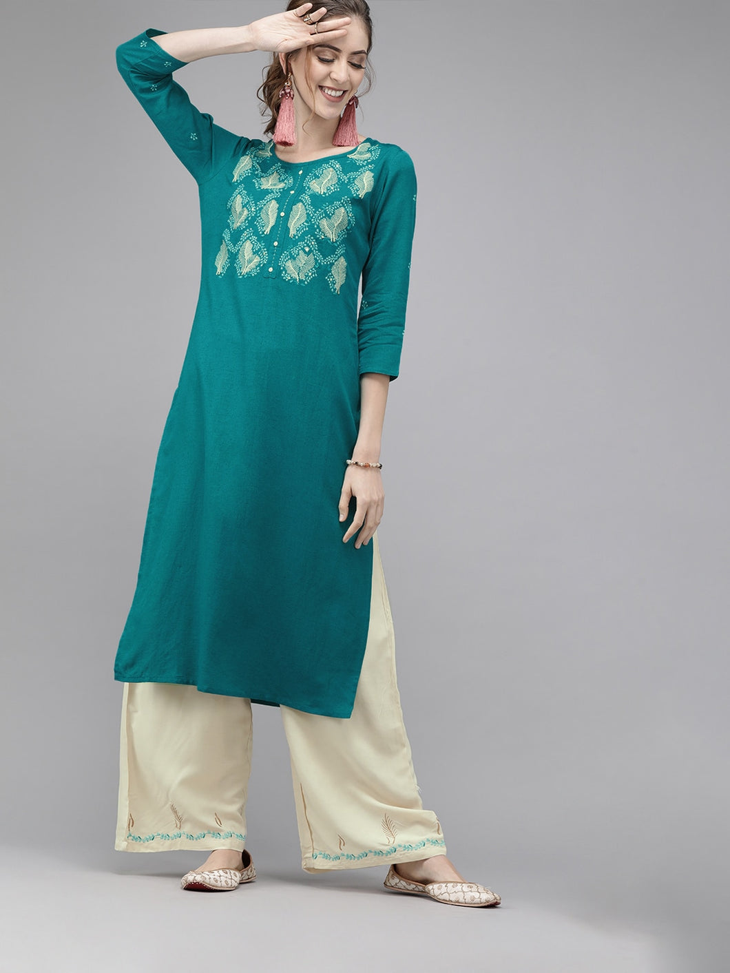 Yufta Women Turquoise Blue & Cream-Coloured Embroidered Kurta with Palazzos