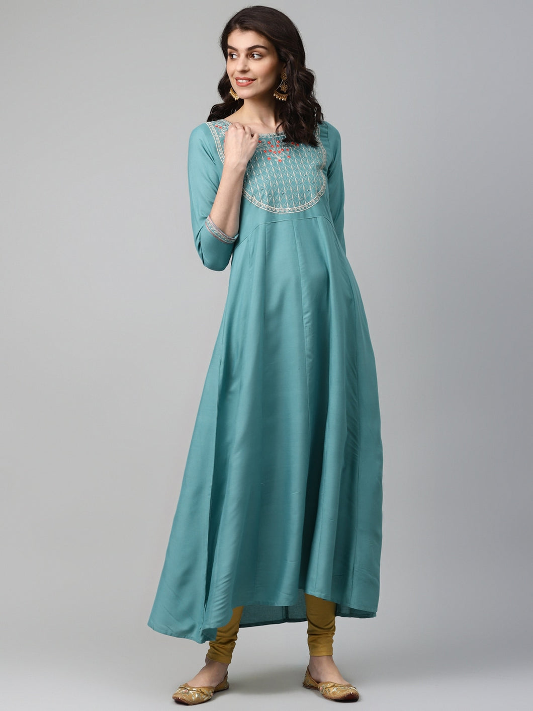 Yufta Women Green & Gold-Coloured Embroidered A-Line Kurta