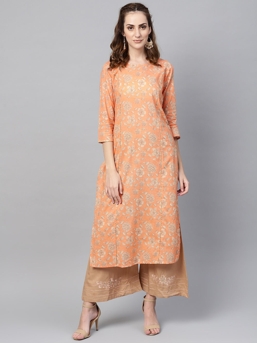 Yufta Women Orange & Green Printed Kurta with Palazzos