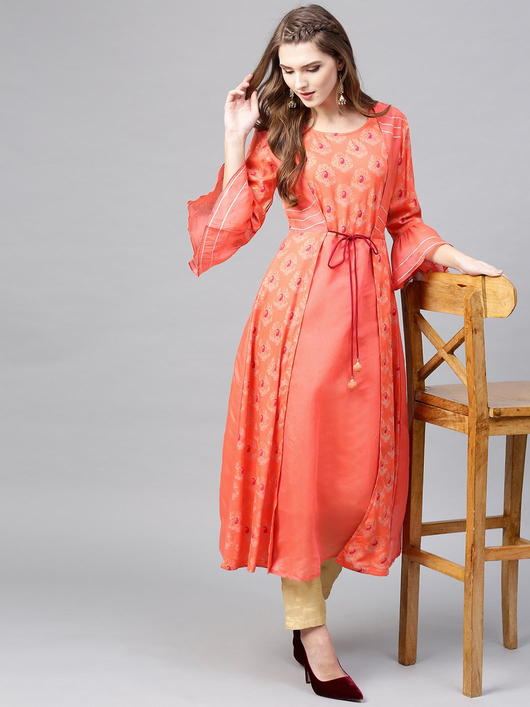 Yufta Women Coral Orange Printed Layered A-Line Kurta