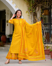 Load image into Gallery viewer, Yufta Women Mustard Kurta with Sharara and Dupatta