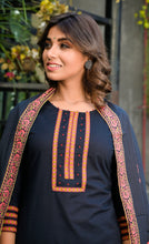 Load image into Gallery viewer, Yufta Women Cotton Black and Peach Handblock Printed Kurta with Palazzo and Dupatta