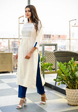 Load image into Gallery viewer, Yufta Women Offwhite and Blue Solid Kurta with Embroidery and Trousers