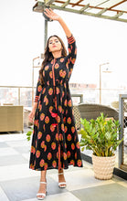 Load image into Gallery viewer, Yufta Women Black and Peach Hand Block Printed Flaired Kurta
