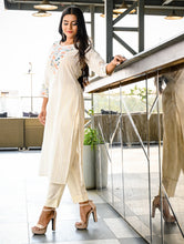 Load image into Gallery viewer, Yufta Women Offwhite Embroidered Staright Kurta