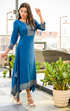 Load image into Gallery viewer, Yufta Women Blue Solid A-Line Kurta with Gold Hand Block Print