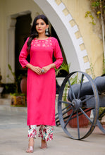 Load image into Gallery viewer, Yufta Women Pink & Sea Green Yoke Design Kurta with Palazzos