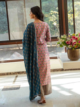 Load image into Gallery viewer, Yufta Printed Kurta palazzo Dupatta set