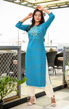 Load image into Gallery viewer, Yufta Women Rama Green and White Gold Block Printed Kurta and Trousers