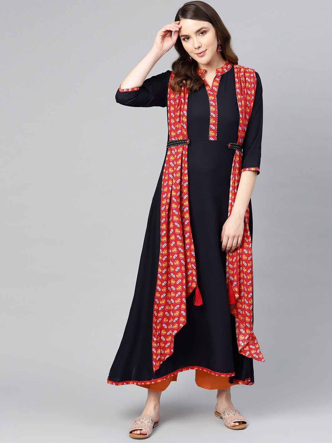 Yufta Women Navy Blue & Red Printed Layered A-Line Kurta-S-Navy Blue