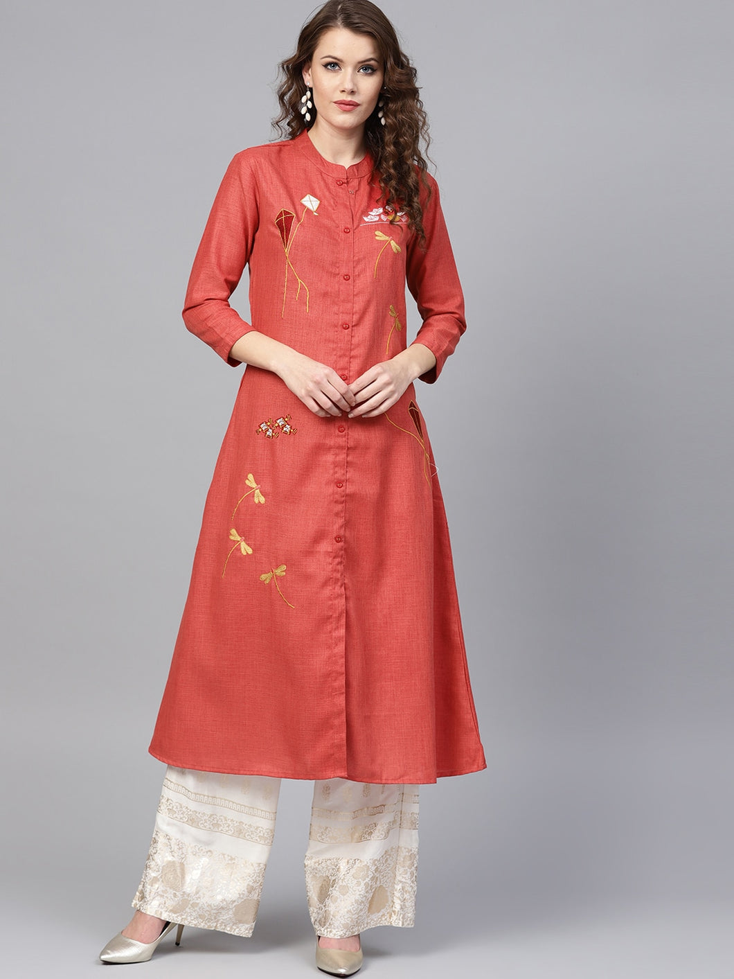 Yufta Women Rust Red Quirky Embroidered A-Line Kurta