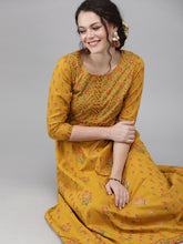 Load image into Gallery viewer, Yufta Women Mustard Yellow & Green Printed A-Line Panelled Kurta