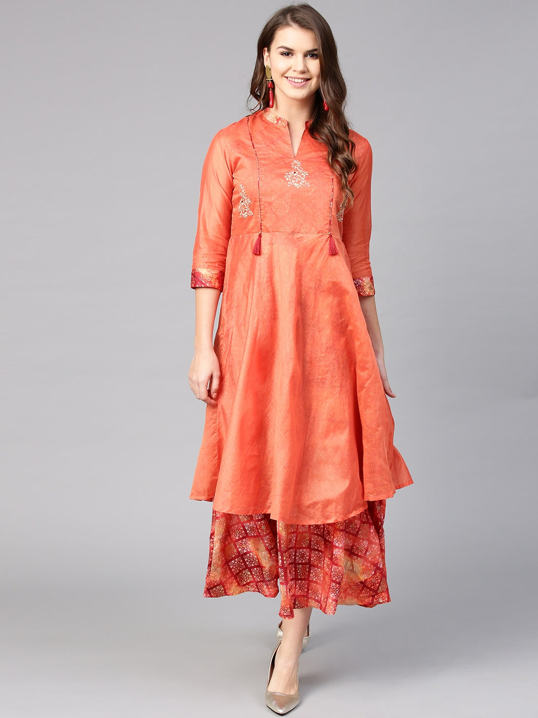 Yufta Women Orange Printed Layered Maxi Dress
