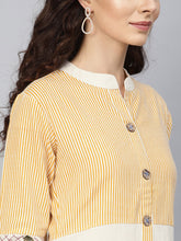 Load image into Gallery viewer, Yufta Women Off-White & Mustard Brown Striped Straight Kurta