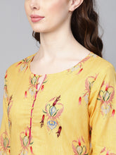 Load image into Gallery viewer, Yufta Women Yellow & Pink Screen Print Straight Kurta