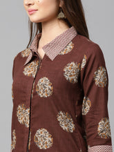 Load image into Gallery viewer, Yufta Women Brown & Off-White Printed Kurta with Trousers