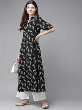 Load image into Gallery viewer, Yufta Women Black & White Floral Print A-line Kurta