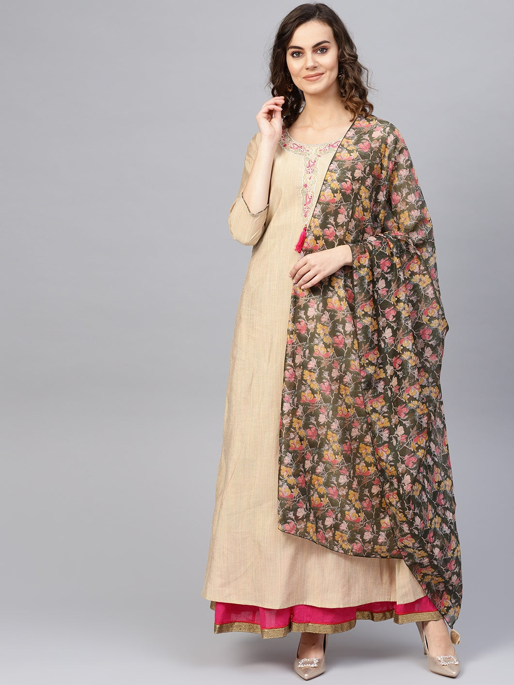 Yufta Women Beige Self-Striped A-Line Kurta With Dupatta