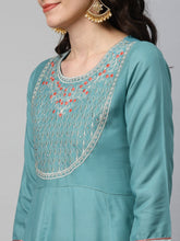 Load image into Gallery viewer, Yufta Women Green & Gold-Coloured Embroidered A-Line Kurta