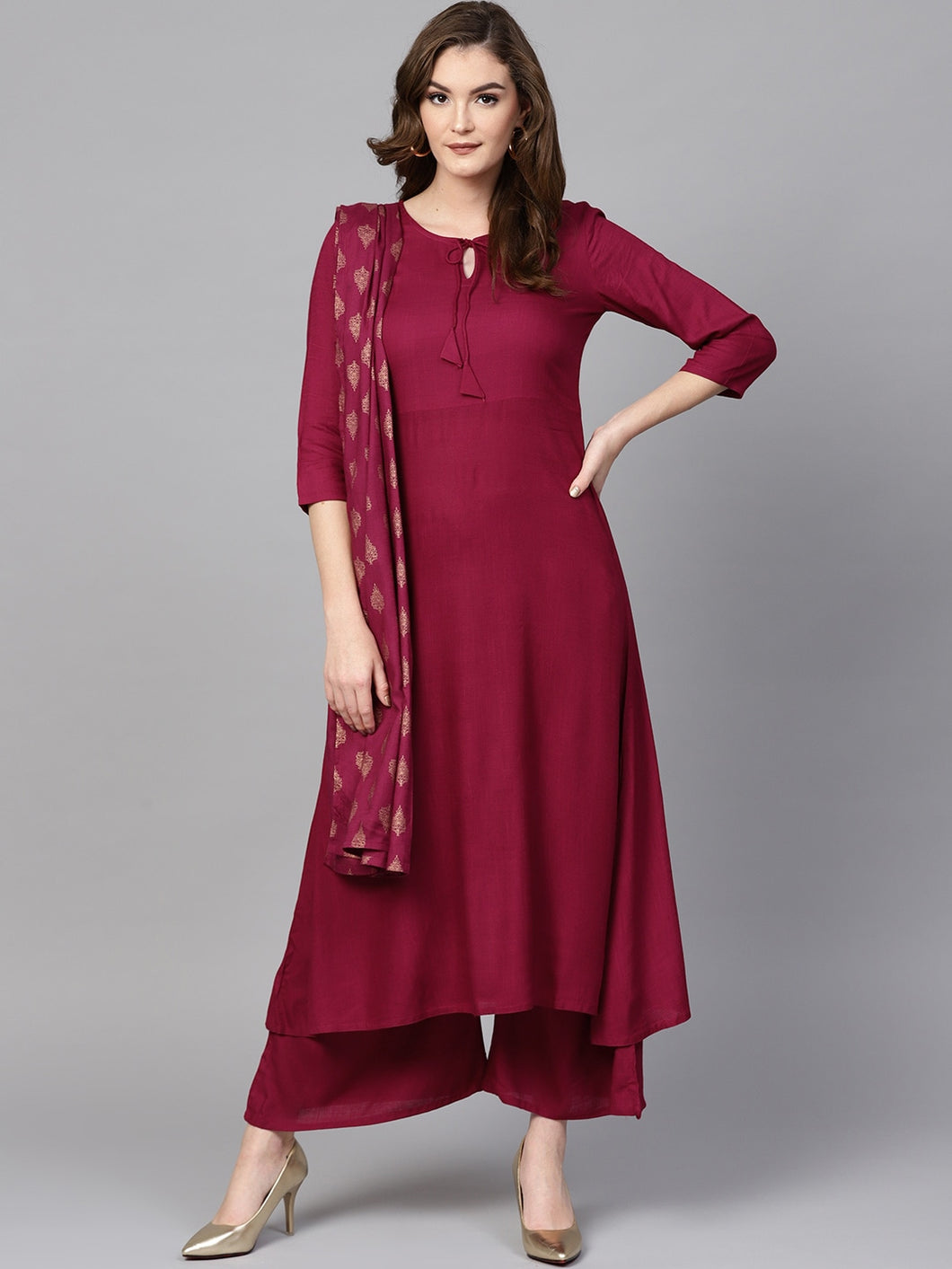 Women Burgundy Solid Kurta with Palazzos & Dupatta