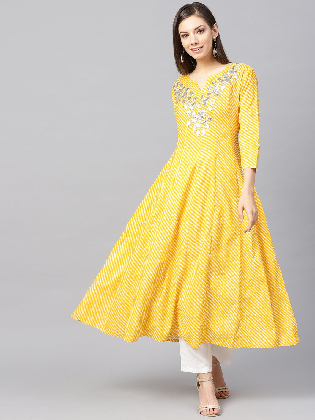 Yufta Women Yellow & Off-White Lehriya Printed Anarkali Kurta