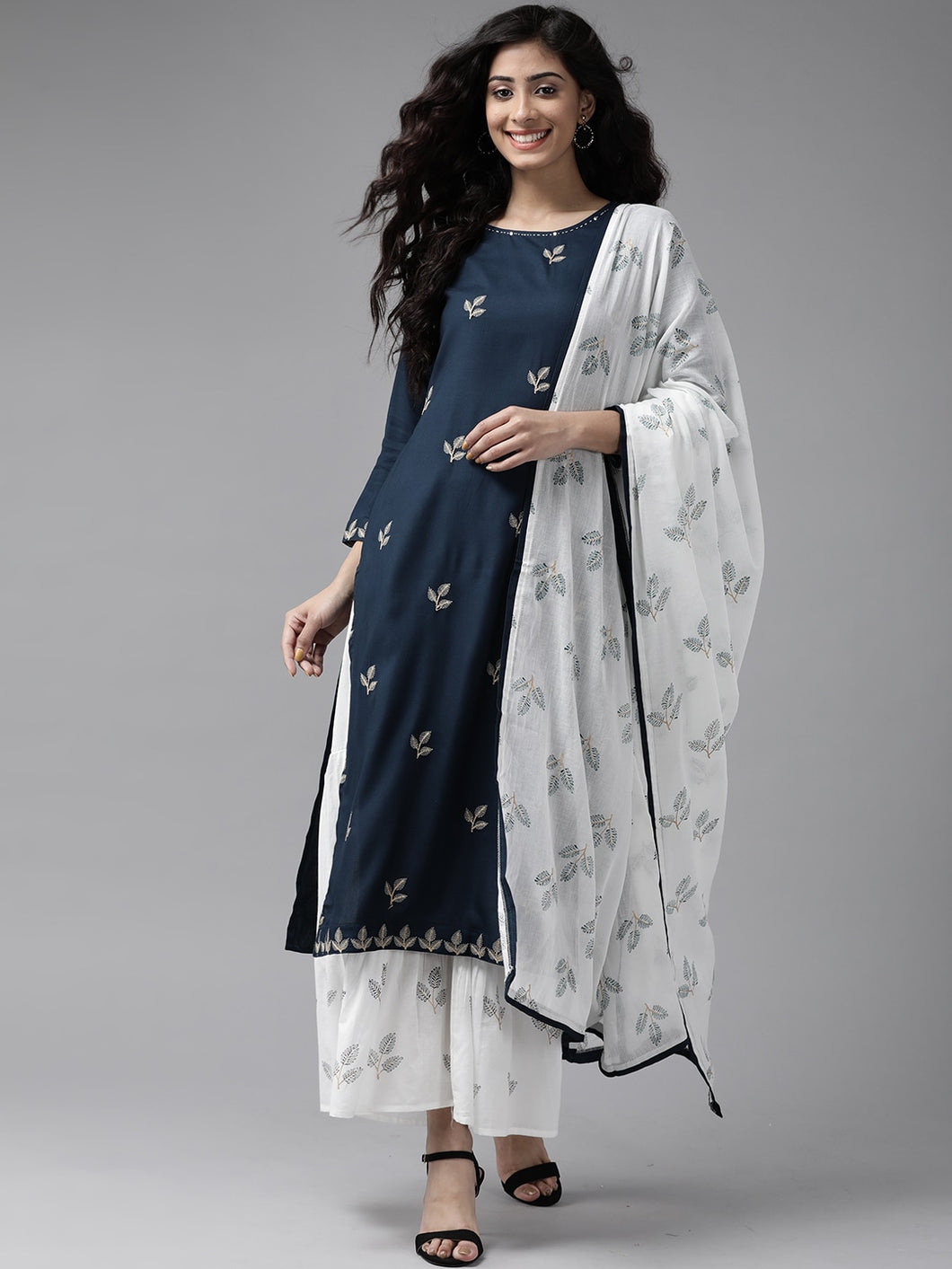 Yufta Women Navy Blue and White Solid Embroidered Kurta with Sharara and Dupatta